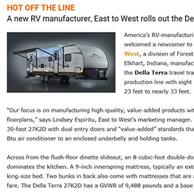 Trailer Life East To West Rolls Out the Della Terra